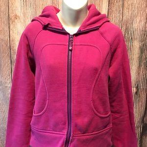 Size 6 hot Pink lululemon scuba zip up hoodie